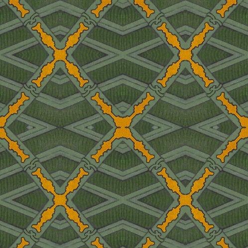 Japanese Trellis - Green and Yellow
