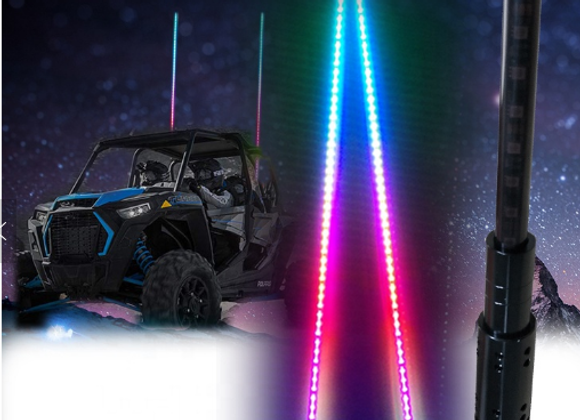 JUST RELEASED!! 2 Piece 5ft Black Pole LED Color Chasing Whips
