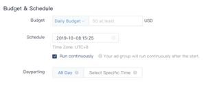 Select TikTok Ad Budget
