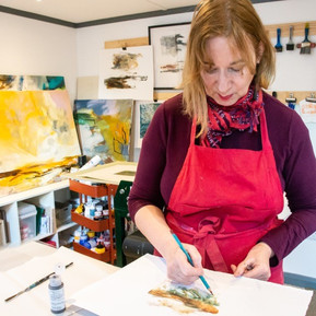 Lesley Birch Applying Layers of Colour to a Print