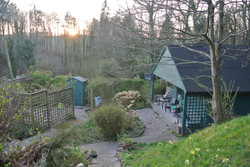 Looking down at the studio from the high garden
