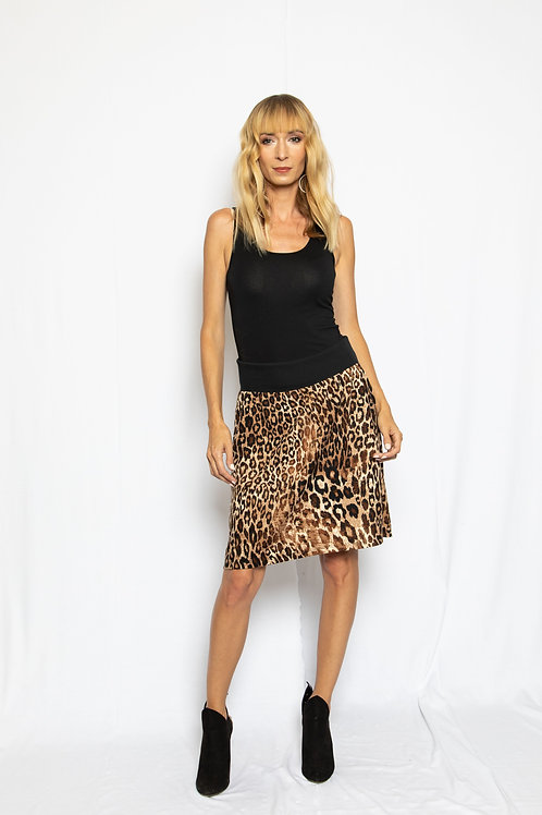 Banded Leopard Skirt