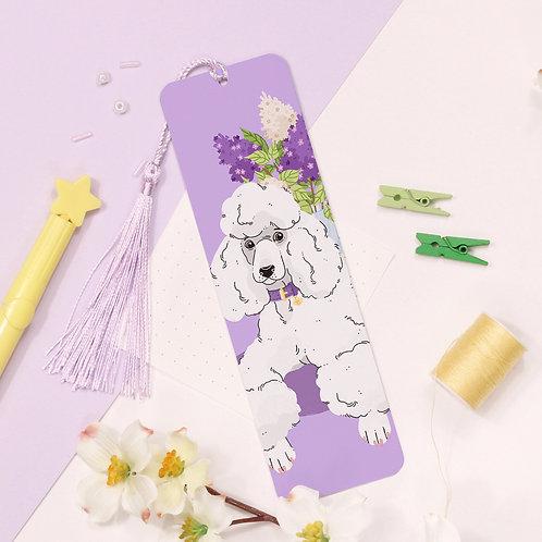 White Poodle Aluminium Bookmark