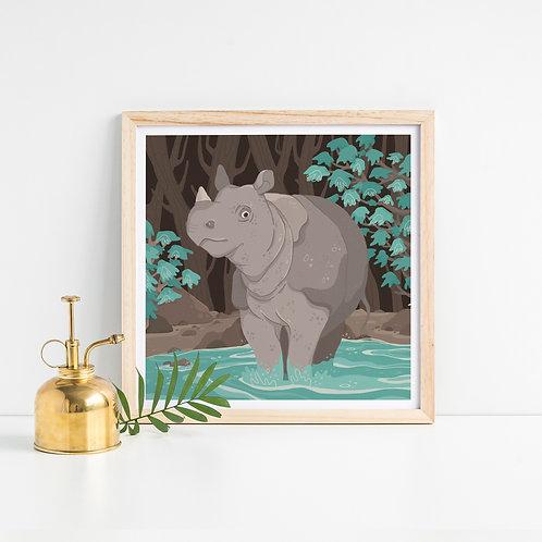 Javan Rhino Art Print
