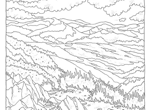 FREE Landscape Colouring Page by Gosia Grodzka #StayHome