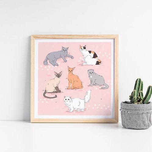 Cat breeds Art Print