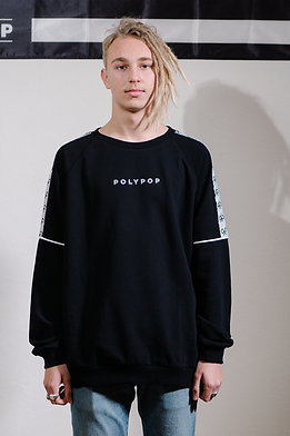 Logo Tape Relaxed Fit Crewneck Black