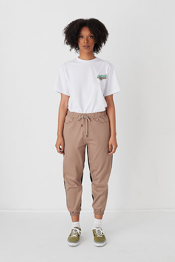 Cotton Twill United Pants Dark Beige-Black