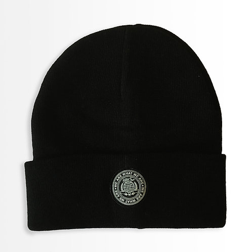 """Around the World"" Black Beanie"