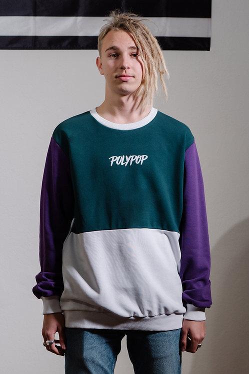Cut'n Sew Relaxed Fit Crewneck Purple-Dark Green