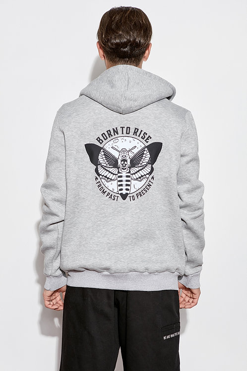 Born To Rise Zip Up Hoodie Grey