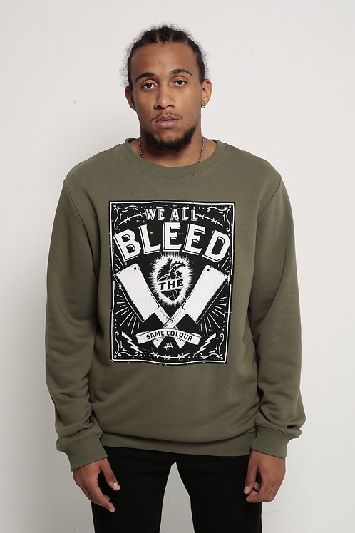 """""""Bleed"""" Relaxed Fit Crewneck Army Green"""