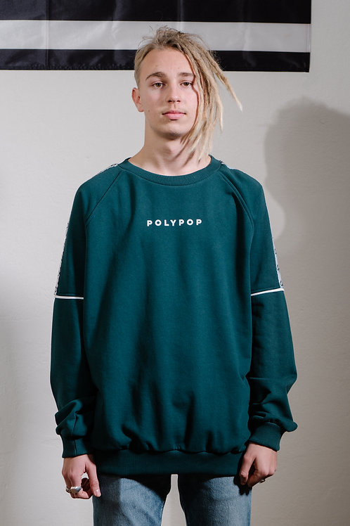 Logo Tape Relaxed Fit Crewneck Dark Green