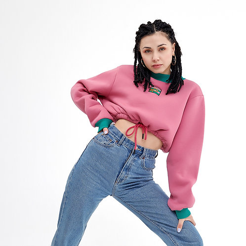 Logo Embroidered Cropped Sweatshirt Pink