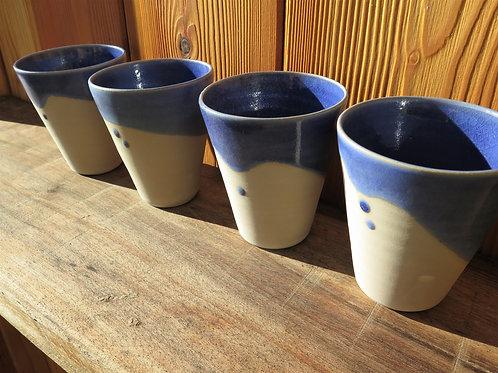 Tasse / verre / gobelet émail de cendre Bleu