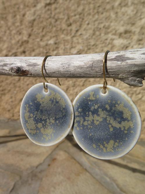 Boucles d'oreilles Myriades, porcelaine blanche