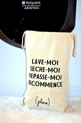"""Pochon en coton """"linge sale"""" 31x48cm"""