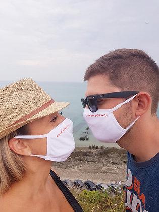 Lot de 2 masques futurs mariés / Madame Monsieur (coton)