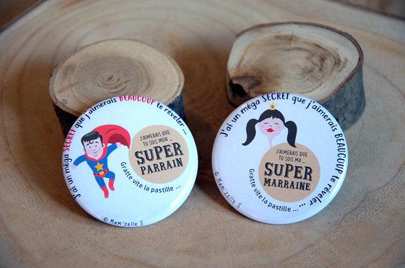 Badge à gratter - Marraine Parrain (super héros)