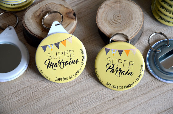 "Badge - Marraine Parrain ""fanions jaunes"""