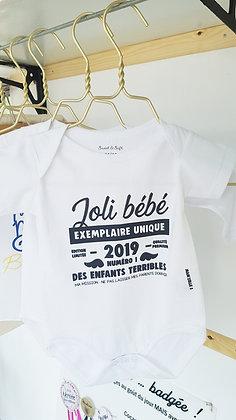 """Body """"bébé exemplaire unique"""" Personnalisé"""