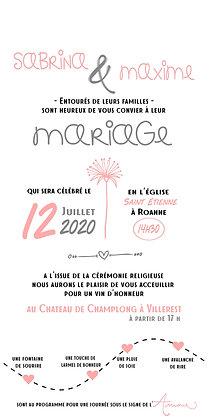 """Faire Part de mariage """"Pissenlit"""" (10x20 cm)"""