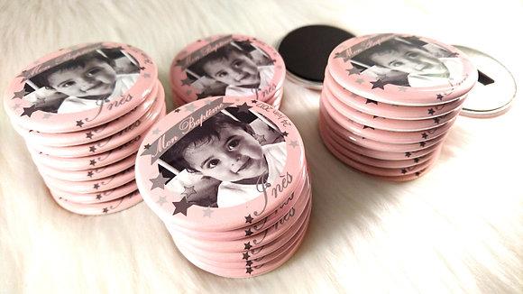 Kit Baptême 30 magnets - Etoiles rose
