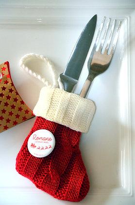 Chaussette de Noël tricotée + badge personnalisé