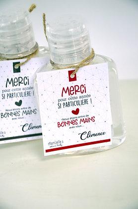 Gel hydroalcoolique avec étiquette personnalisée
