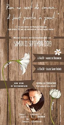 """Faire Part de mariage """"bois"""" (10x20 cm)"""