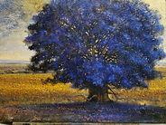 albero azzurro 2020 olio su tela cm.70x1