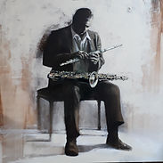 John Coltrane olio su tela 100x100 2019.