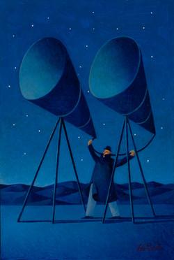 L'ascoltatore del cielo (olio su tavola