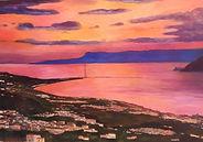 tramonto tra Scilla e Cariddi- olio su t