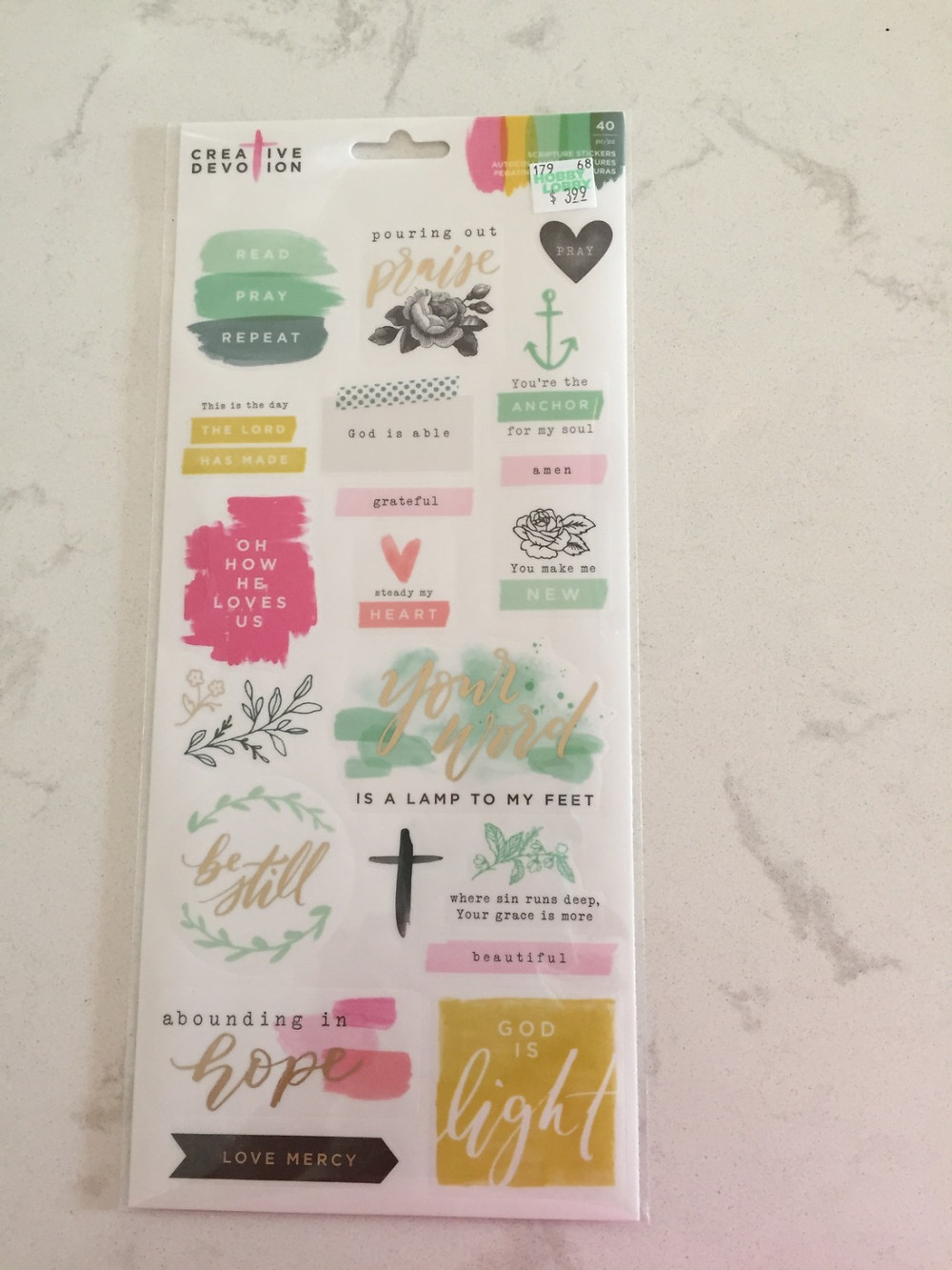 Stickers with Faith Related Messages