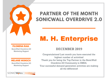 M. H. Enterprise is SonicWall's Partner of the Month