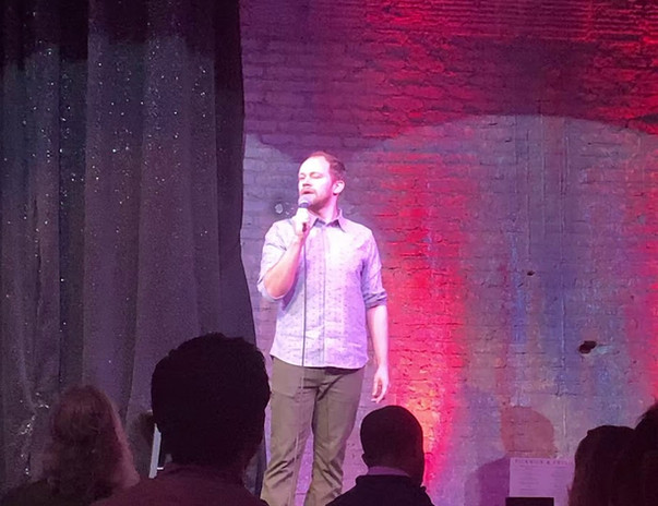 David Horning in front of a sold out crowd at Hilarities Comedy Club in Cleveland.