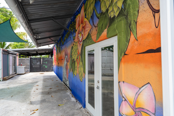Outdoor Area with Local Art