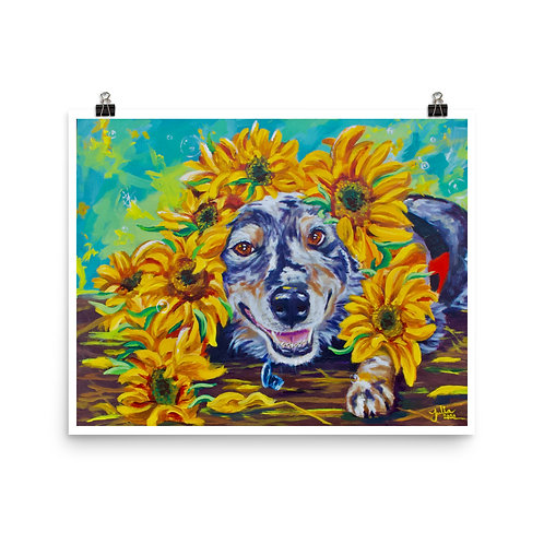 Sunflowers For Fonzie Print