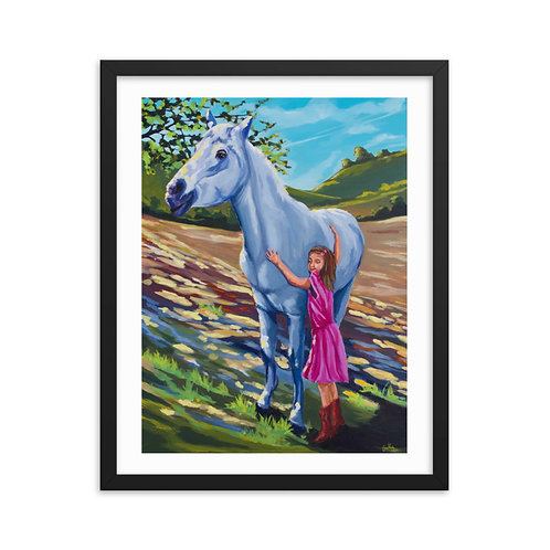 """""""A Girl and Her Horse"""" Framed Print"""