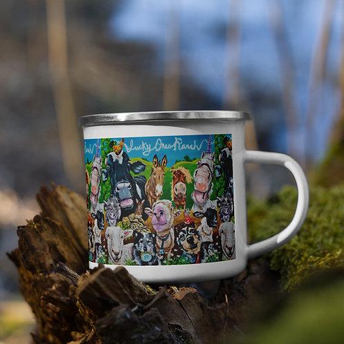 Lucky Ones Ranch Collage Enamel Mug
