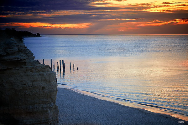 Beautiful australian beach scene at sunset.