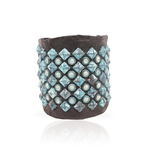 Adel Cuff Swarovski Crystals/Turquoise Pyramid in Black