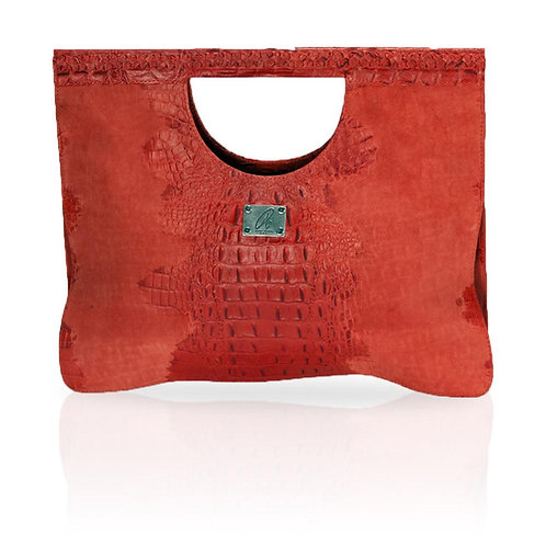 Arosa Hornback on Suede Clutch in Red