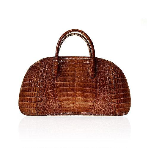 Vitoria Medium Crocodile Handbag in Cognac