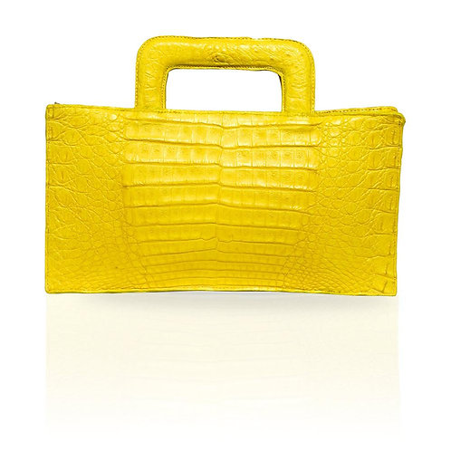 Milan Crocodile Clutch in Yellow