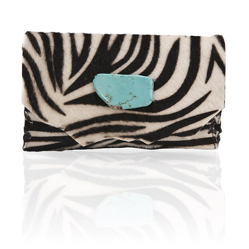 Marie Calf Hair Wallet/Clutch in Zebra