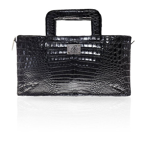 Milan Crocodile Clutch in Black