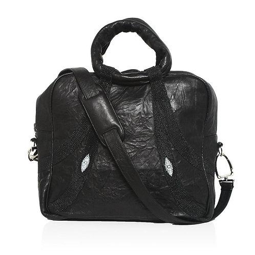 Mrinne Borello/Stingray Shoulder in Black/Black