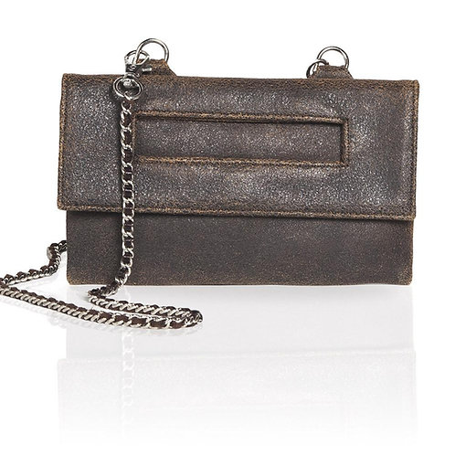 Capri Distressed 3-Way Pouch in Brown/Navy